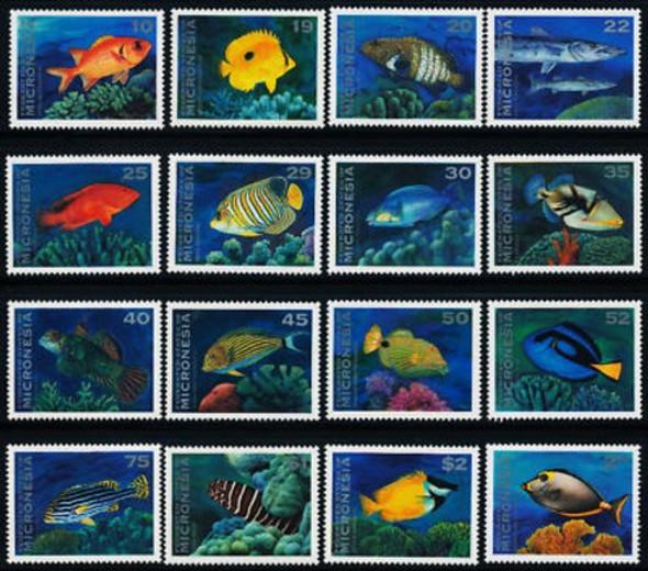 MICRONESIA (1994)- TROPICAL FISH DEFINITIVE SET OF 16 VALUES