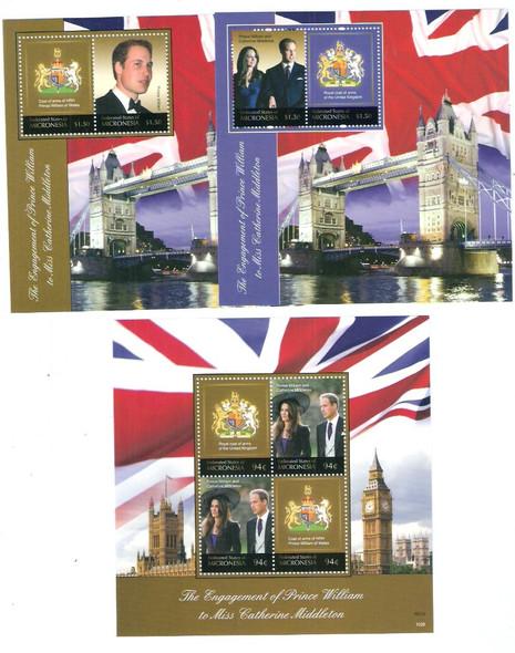 MICRONESIA (2013)- Royal Engagement Pr William C Middleton- souvenir sheet- coat of arms (3)