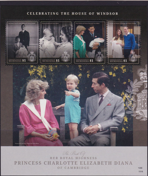 MICRONESIA (2015): Princess Charlotte- Sheet of 4- parents- QEII, Diana