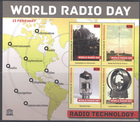 MICRONESIA- World Radio Day 2013- Sheet of 4- alternator- receiver- tower- map in border