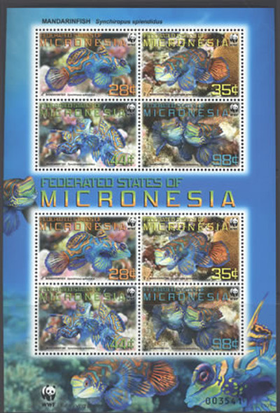 MICRONESIA- WWF Mandarinfish- mini-sheet of 2 sets