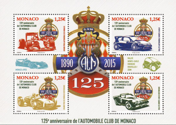 MONACO (2015): Auto Club 125th Anniversary- Sheet of 4