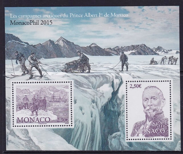 MONACO (2016) : Monacophil Arctic Expedition- Sheet of 2- Pr Albert