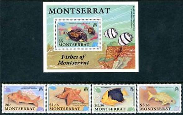 Montserrat (1991): Fish, Starfish, etc.- 4 values & souvenir sheet