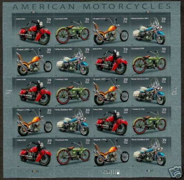 US (2006)  American Motorcycles Sheet of 20v- SC#4088
