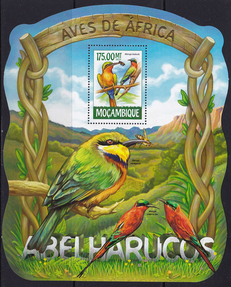 MOZAMBIQUE: Birds 2015- souvenir sheet- Red Throated Bee Eater-shaped!