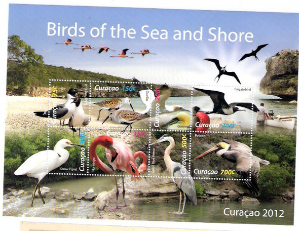 NETHERLANDS ANTILLES (2012) - CURACAO Birds of the Sea and Shore- Sheet of 8