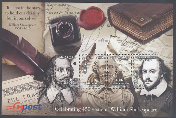 NETHERLANDS ANTILLES: CURACAO Shakespeare 450 yrs- Sheet of 4 (1)