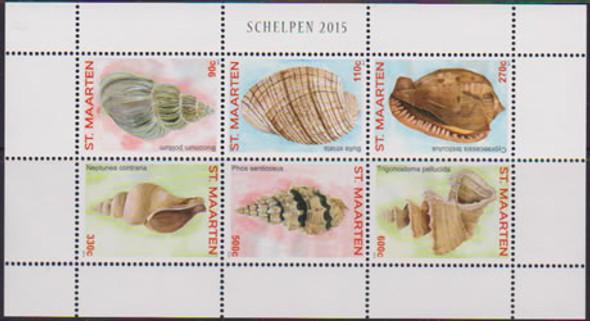 NETHERLANDS ANTILLES: ST MAARTEN Shells 2015- Sheet of 6