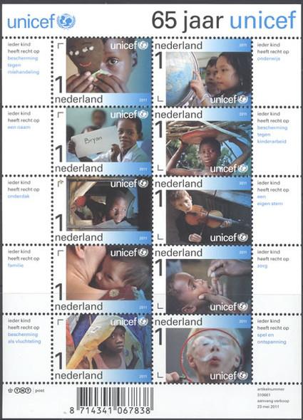 NETHERLANDS- UNICEF 65 yrs- Sheet of 10