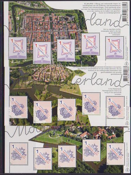 NETHERLANDS: Beautiful Netherlands 2015- Bourtange- Naarden- Elburg (3)mini-sheet of 5