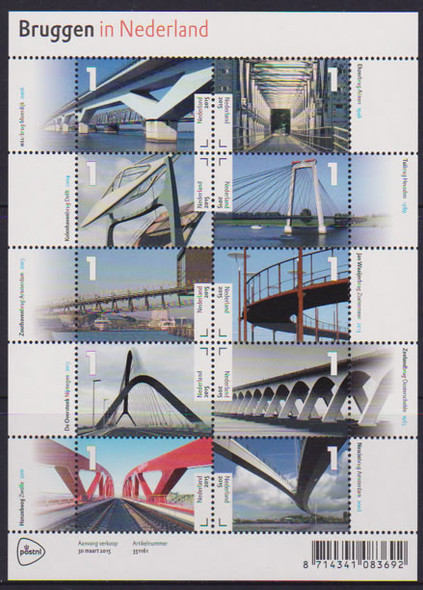 NETHERLANDS: Bridges 2015- Sheet of 10