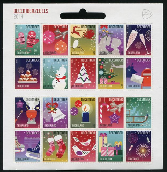 NETHERLANDS: December Stamps 2014- Sheet of 20- self-adhesive- winter themes