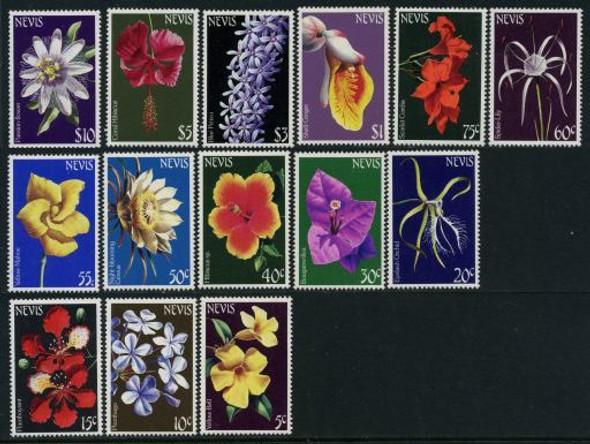 NEVIS (1984)- FLOWER DEFINITIVE SET OF 14 VALUES