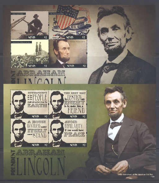 NEVIS (2012) - President  Lincoln &  Civil War 150th Anniversary- Sheets of 4 (2)