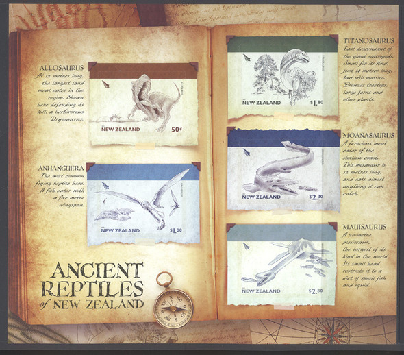 NEW ZEALAND (2010)- Ancient Reptiles Jumbo Sheet of 5 values