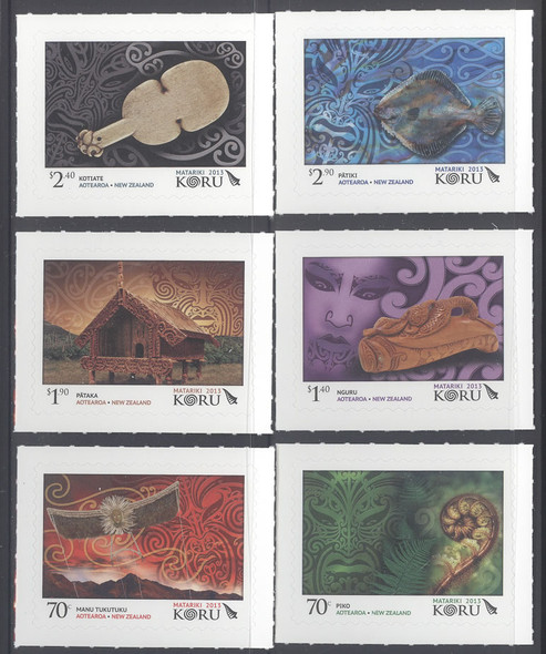 NEW ZEALAND (2013)- Koru Artifacts Maori New Years- self-adhesive (6)
