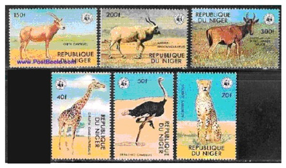 NIGER (1977): WWF ENDANGERED ANIMALS SET OF 6 VALUES