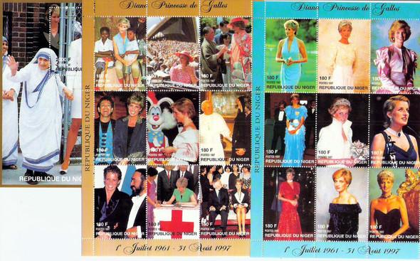 NIGER (1997-8)- PRINCESS DIANA-2 SHEETS OF 9 AND SOUVENIR SHEET W/MOTHER THERESA