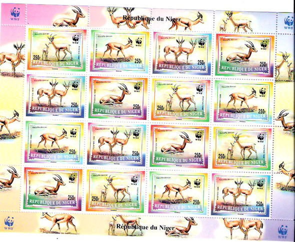 NIGER (1998)- WWF GAZELLES SHEET OF 4 SETS