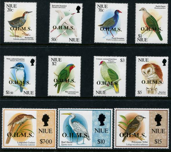 NIUE (1993)- BIRD DEFINITIVES WITH O.H.M.S. GOLD OVERPRINT (11v)