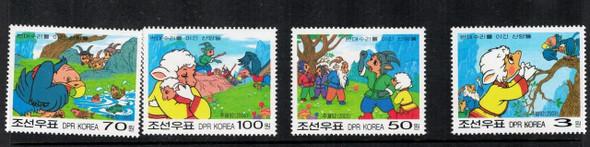 NORTH KOREA (2003)- Fables (Animal Cartoons)- 4 values