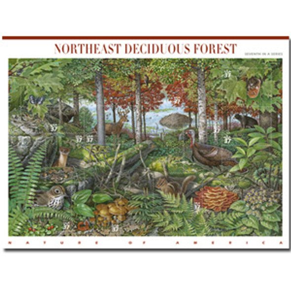 Northeast Deciduous Forest & Fauna Sheetlet of 10 self adhes