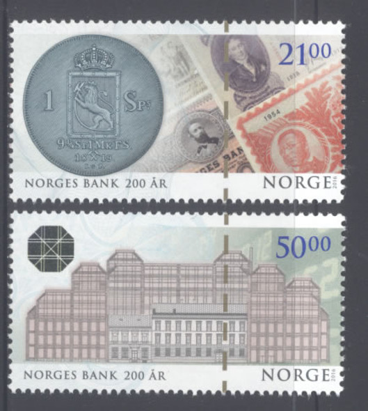 NORWAY (2016)- Central Bank 200 years- paper money- coin- building (2)
