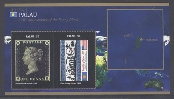 PALAU- 170th Anniversary of the Penny Black- Sheet of 2- stamp-on-stamp