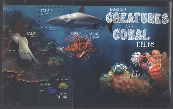 PALAU- Creatures and Coral Reefs II- Sheet of 5- shark- fish- ray- seaworm