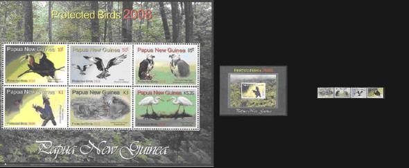 PAPUA (2008)- PROTECTED BIRDS- 4v+Sheet of 6+ Souvenir Sheet