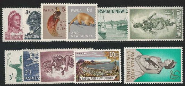 PAPUA/NEW GUINEA #153-163-EARLY DEFINITIVES