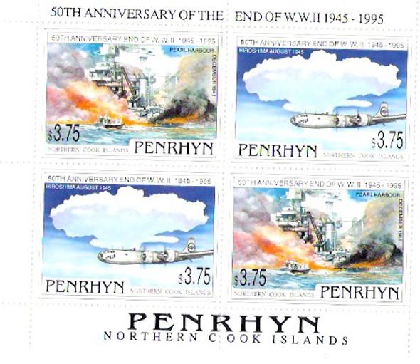 PENRHYN (1995)- END OF WORLD WAR II, 50TH ANNIVERSARY SHEETLET OF 4 VALUES.