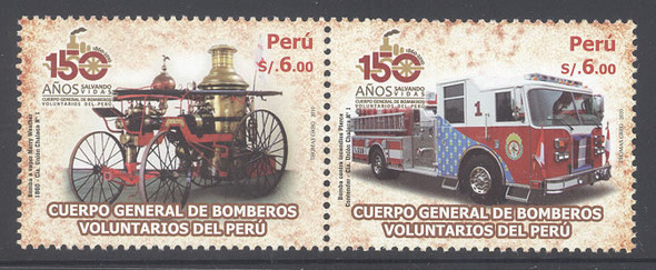PERU- Volunteer Fire Dept 150 yrs- fire engines old and new (2)