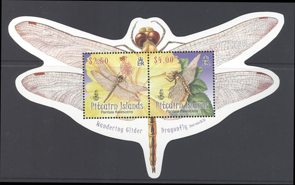PITCAIRN IS (2009).- Dragonfly Souvenir Sheet (shaped)