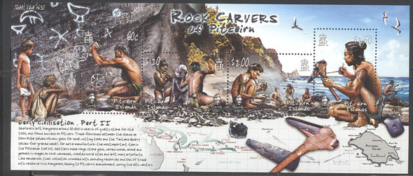 PITCAIRN ISLAND (2007)- Rock Carvers ( primitive man), souvenir sheet