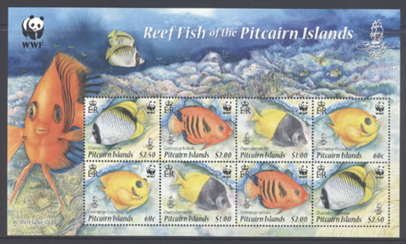 PITCAIRN ISLAND (2010) - WWF Reef Fish Sheet- 2 sets with border pictures