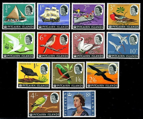PITCAIRN ISLANDS (1964)- BIRD/SHIP/QUEEN DEFINITIVE SET OF 13 VALUES