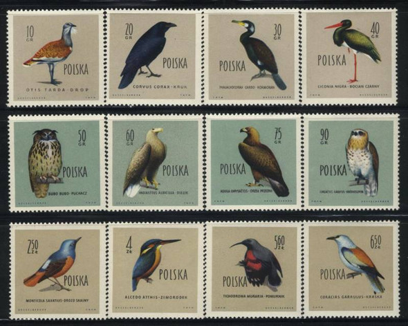 POLAND (1960)- BIRDS- SET OF 12 VALUES-SCV=$20.75!