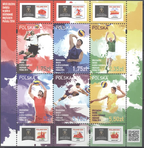 POLAND (2014): Volleyball World Championships 2014- Sheet of 6