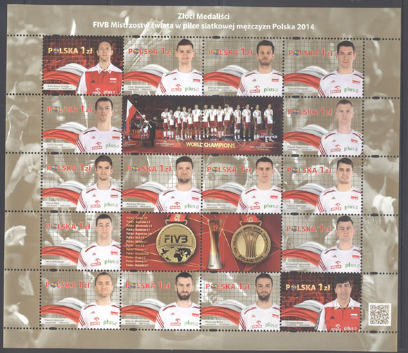 POLAND (2014): Volleyball World Championships- Sheet of 16- gold medalists