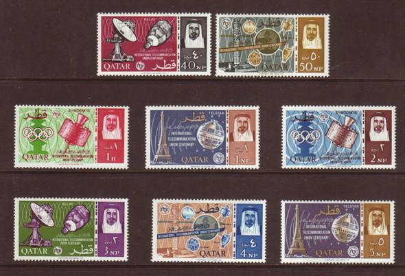 Qatar (1965)- ITU, TELSTAR, EIFFEL TOWER- 8 VALUES
