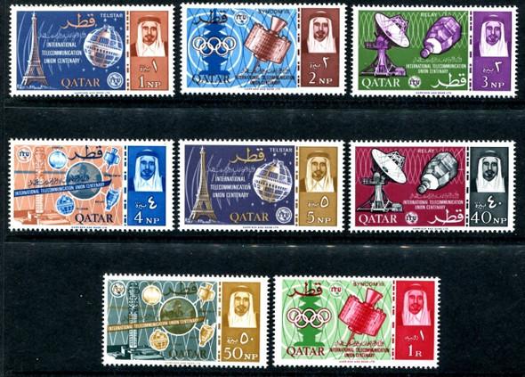 QATAR (1965)- ITU, TELSTAR, TOKYO OLYMPICS, ETC.-8v-SCV=$35.75!