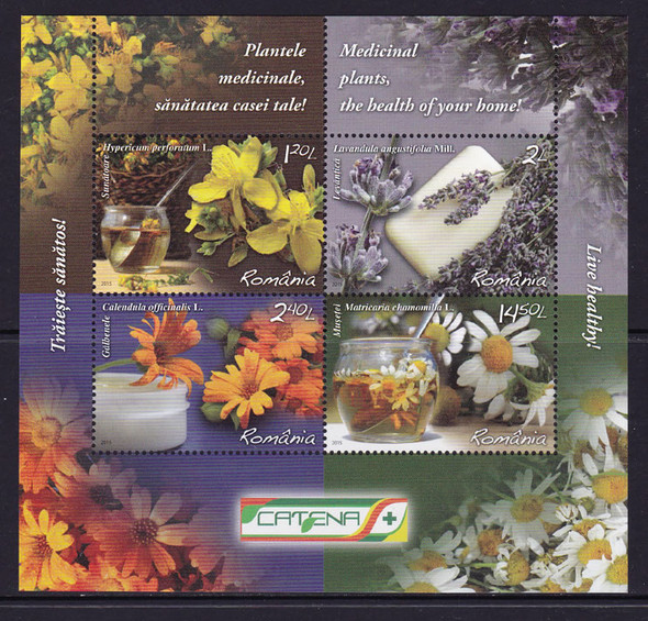 ROMANIA: Medicinal Plants 2015- Sheet of 4