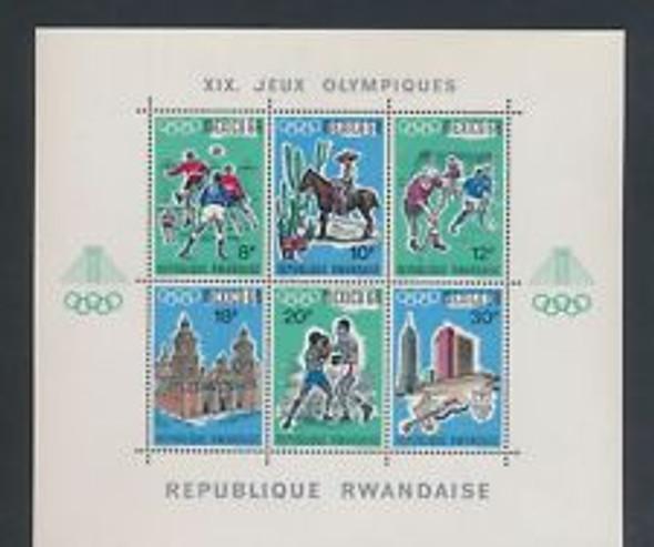 RWANDA (1968) Mexico Olympics Sheet of 6V