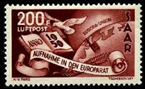 SAAR (1950)- EUROPEAN UNION AIR POST- DOVE W/GLOBE!
