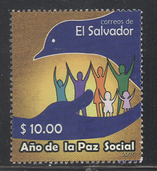 SALVADOR-(2008)  Year of Peace,Stylized Dove and Hand (1v)