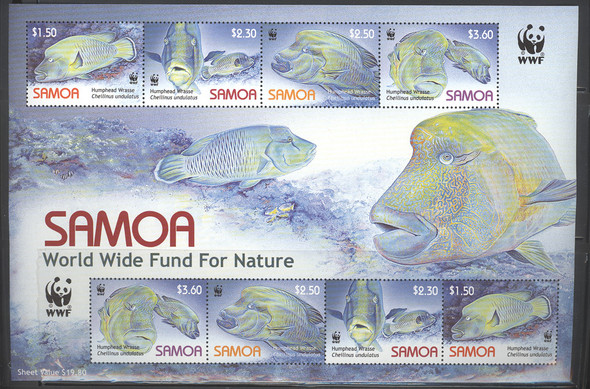 SAMOA (2006) - WWF Sheetlet of 8- Fish