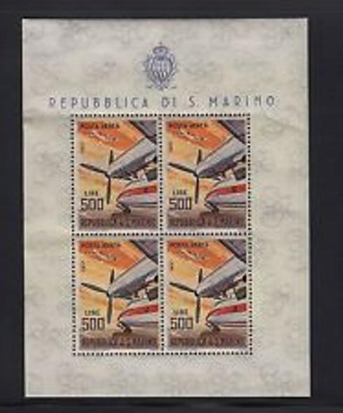 SAN MARINO  (1965) AVIATION Sheet of 4 ( slight bend in sheets )