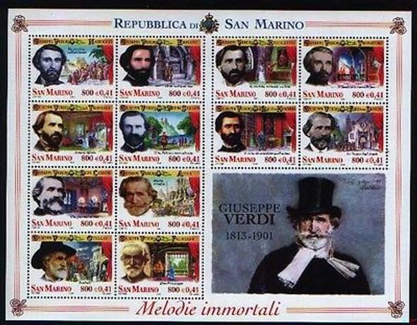 SAN MARINO (2001) Giuseppe Verdi Operas Sheetlet of 12
